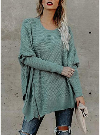Couleur unie Gros tricot Col rond Robe Pull