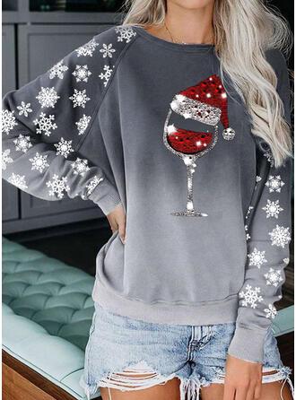 pailletter rund hals Lange ærmer Jule sweatshirt