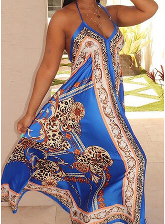Print Sleeveless Shift Casual/Vacation/Plus Size Maxi Dresses