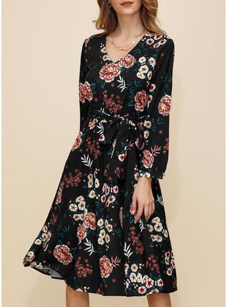 Nadrukowana/Kwiatowy Długie rękawy W kształcie litery A Midi Casual/Elegancki Sukienki