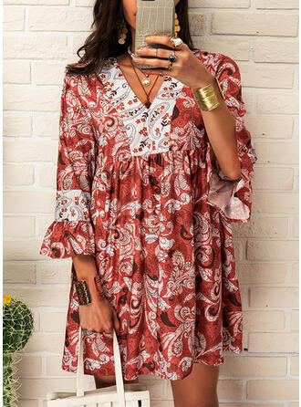 Print 3/4 Sleeves Shift Above Knee Casual/Vacation Tunic Dresses (199275207)