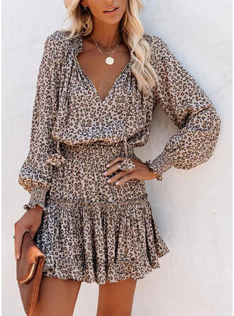 Leopard Long Sleeves A-line Above Knee Casual Dresses