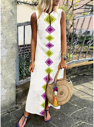 Geometric Print Sleeveless Shift Maxi Casual Dresses