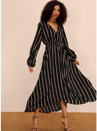 Striped Long Sleeves A-line Midi Casual/Elegant Dresses