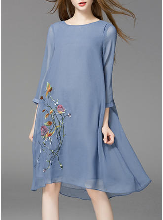 Embroidery/Floral 3/4 Sleeves Shift Knee Length Casual/Elegant Dresses