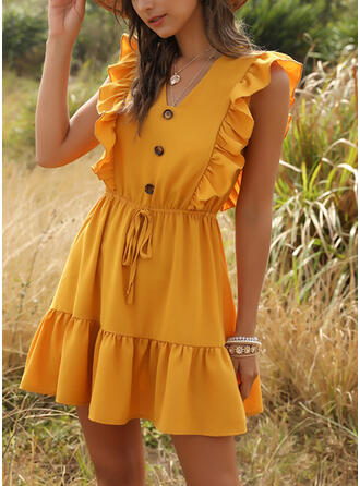 Solid Cap Sleeve A-line Above Knee Casual/Vacation Dresses