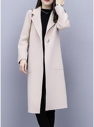 Poliester Długie rękawy Jednolity kolor Mieszanki Płaszcze