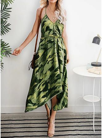 Print Sleeveless A-line Asymmetrical Casual/Vacation Dresses