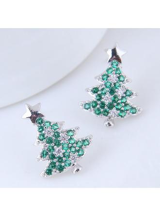 Christmas Tree Zircon Copper Earrings Christmas Jewelry