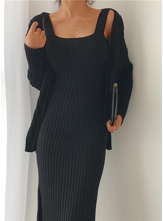 Sólido Manga Larga Ajustado Pequeños Negros/Casual Midi Vestidos