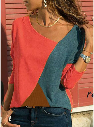 Bloque de color Escote en V Manga Larga Casual Blusas