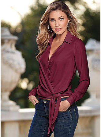 Lapel Plain Long Sleeves Ruffle Blouses