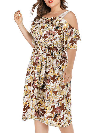 Lace/Print/Floral 1/2 Sleeves/Cold Shoulder Sleeve A-line Casual/Vacation/Plus Size Midi Dresses
