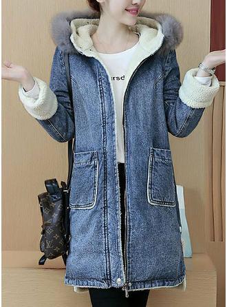 Dżinsowa Długie rękawy Jednolity kolor Jeans Płaszcze