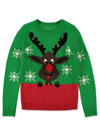 Unisex Polyester Farbblock Rentier Hässlicher Weihnachtsstrickjacke