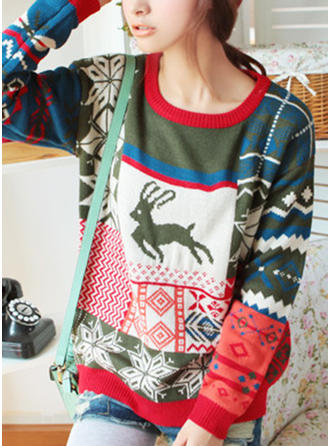 Acrylic Wool Round Neck Print Patchwork Ugly Christmas Sweater