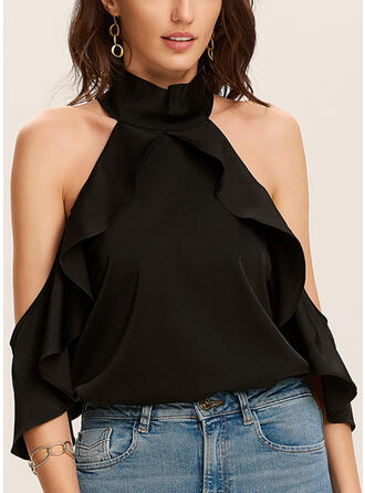 Solid Cold Shoulder 1/2 Sleeves Casual Blouses (1003291595)