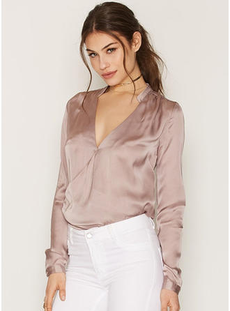 Satin V Neck Plain Long Sleeves Button Up Blouses