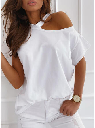 Solide One Shoulder Korte Mouwen Casual T-shirts