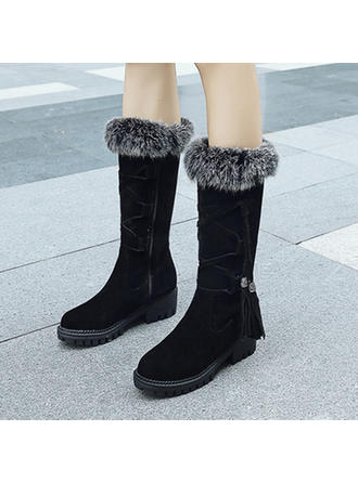 Női Szarvasbőr Chunky sarok Hótaposó -Val Lace-up Bojt cipő