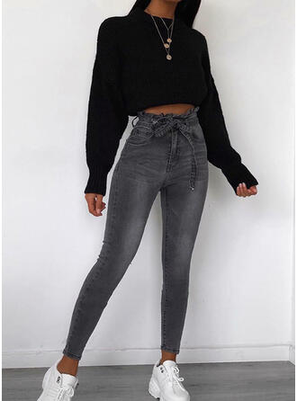 Solid Long Casual Long Skinny Solid Denim Pants