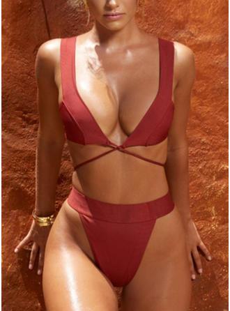 Solid farve Strop Sexet Bikinier Badedragter