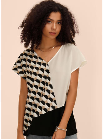 Print Geometric Print Patchwork V-neck Short Sleeves Casual Blouses