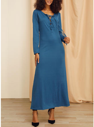 Solid Long Sleeves Sheath Maxi Casual/Elegant Dresses