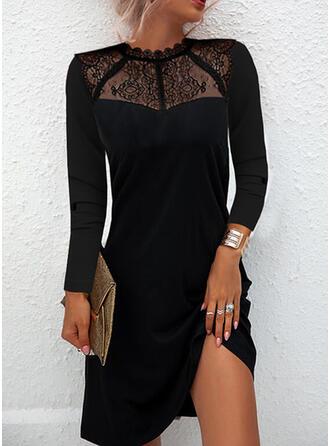 Egyszínű Δαντέλα Hosszú ujjú Shift Térd feletti Kis fekete/Κομψός φορέματα