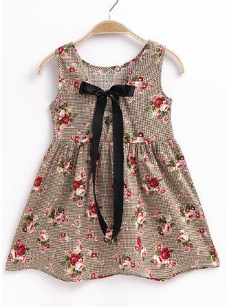 Girls Round Neck Print Casual Dress