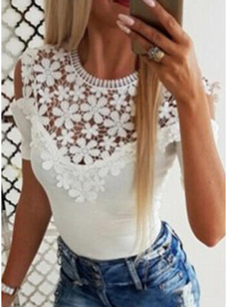 Solid Lace Round Neck Short Sleeves Casual Knit Blouses