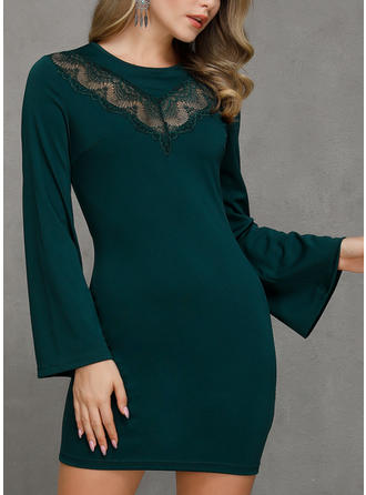 Lace/Solid Long Sleeves Sheath Above Knee Casual Dresses