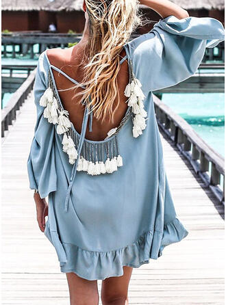 Solid 3/4 Sleeves Shift Above Knee Sexy/Casual/Vacation Dresses