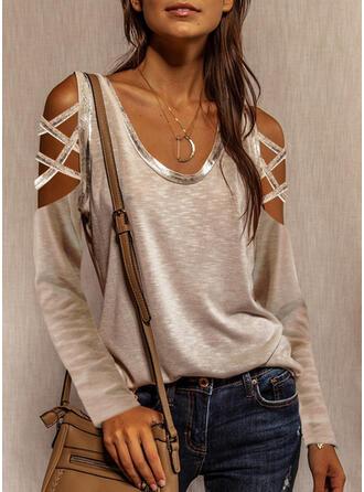 Solide Cold Shoulder Lange Mouwen Casual Overhemd