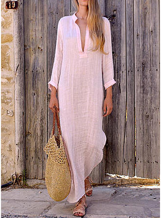 Solid Long Sleeves Shift Maxi Casual Dresses