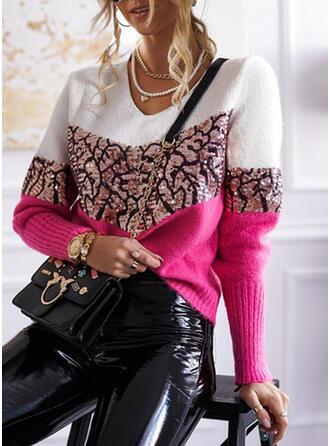 Bloque de Color Lentejuelas Cuello en V Casuales Suéteres