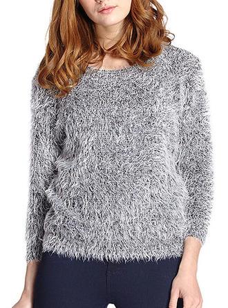 Mohair Round Neck Plain Sweater