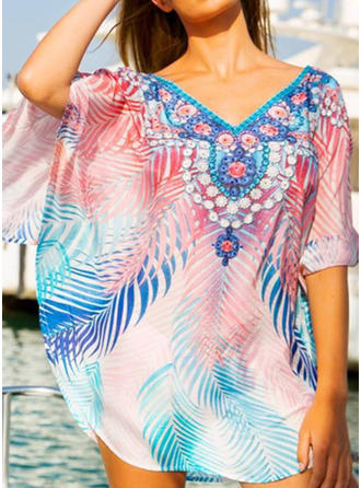 Floral V-neck Elegant Cover-ups Swimsuits