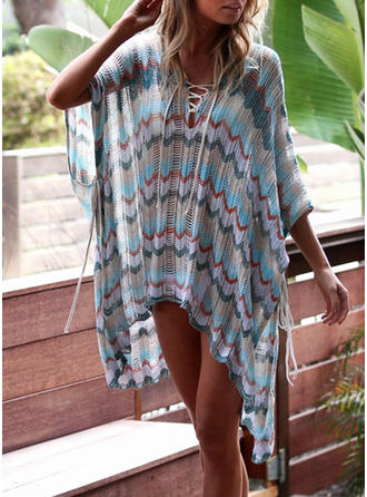 Tropical Print V-neck Sexy Bohemian Cover-ups Swimsuits