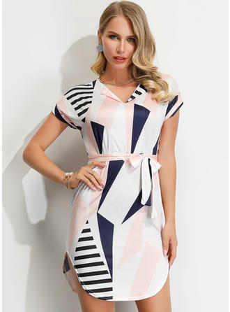 Striped/Geometric Print Short Sleeves Sheath Above Knee Casual/Elegant Dresses