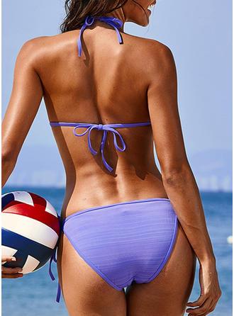 Couleur Unie Dos Nu Sexy Bikinis Maillots De Bain