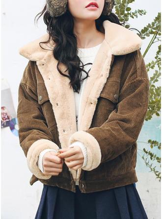 Cotton Long Sleeves Plain Shearling Coats