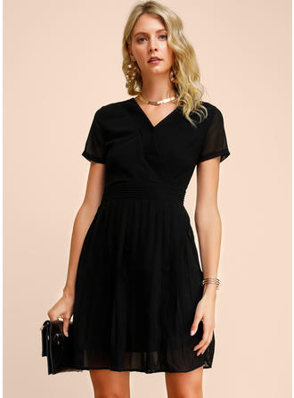 Solid Short Sleeves A-line Above Knee Little Black/Party/Elegant Dresses