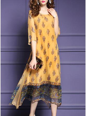 Polyester With Print Midi/Maxi Dress