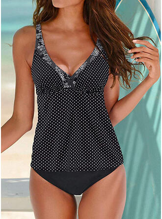 Dot Plaid Strap V-Neck Sexy Tankinis Swimsuits