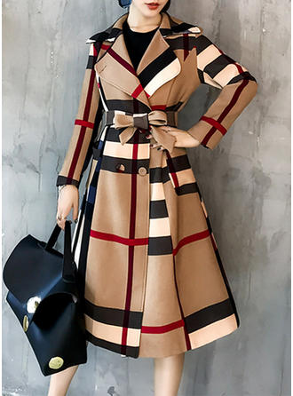 Polyester Long Sleeves Striped Slim Fit Coats