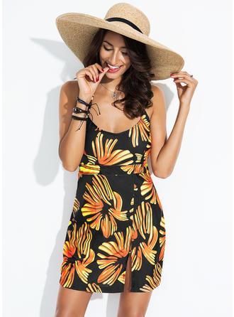 Elegancki Kolorowy Chinlon Spandex Plaża sukienka