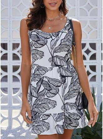 Print Sleeveless A-line Above Knee Casual Dresses