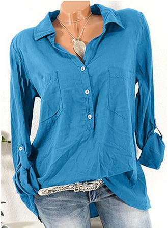 Polyester Lapel Plain Long Sleeves Casual Blouses