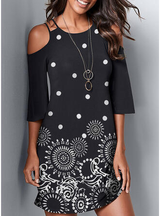 Print Cold Shoulder Sleeve Sheath Above Knee Casual Dresses